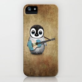 Baby Penguin Playing Guatemalan Flag Acoustic Guitar iPhone Case
