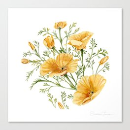 California Poppies - Watercolor Painting Canvas Print