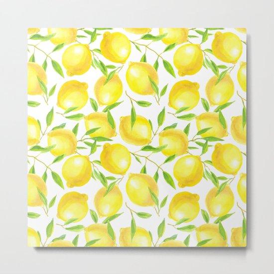 Lemons and leaves  pattern design Metal Print