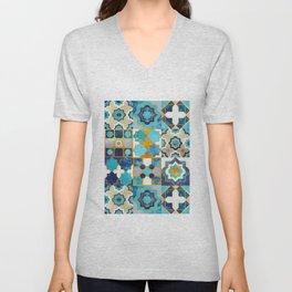 Spanish moroccan tiles inspiration // turquoise blue golden lines Unisex V-Neck