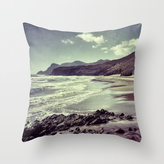 Barronal beach. Retro series. Throw Pillow