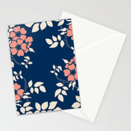 FLORAL IN BLUE AND CORAL Stationery Cards