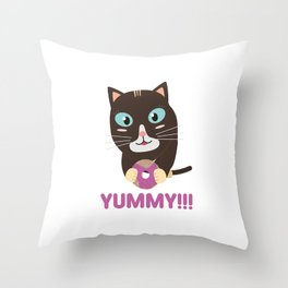Cat with yummy Donut Throw Pillow