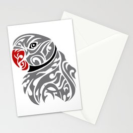 Grey ringneck parrot tattoo Stationery Cards