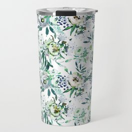 Country white green rustic watercolor floral Travel Mug