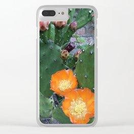 Orange Cacti Clear iPhone Case