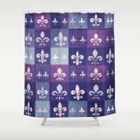 fleur de lis Shower Curtains featuring Fleur de lis #1 by Camille