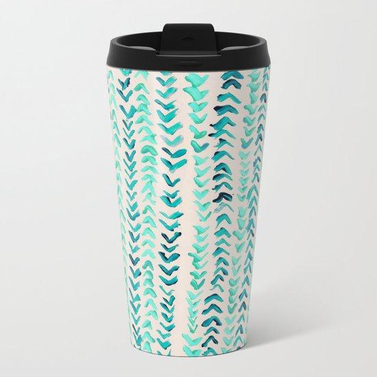 Hand Painted Herringbone Pattern in Mint Metal Travel Mug