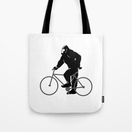 Bigfoot  riding bicycle Tote Bag