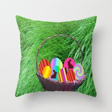Easter Basket with colorful eggs Throw Pillow