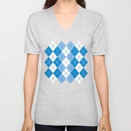 Argyle Design in Blue and White Unisex V-Neck