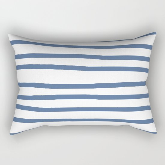 Simply Drawn Stripes in Aegean Blue and White Rectangular Pillow