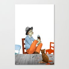Spotted Crow Takes His Medicine Canvas Print
