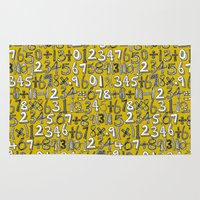 math Area & Throw Rugs featuring math doodle yellow by Sharon Turner