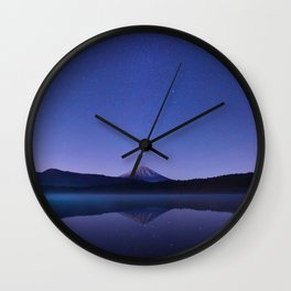 Purple Lilac Lullaby Japanese Mountains At Night Star Sky Relaxing Cozy Landscape Wall Clock