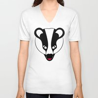 badger V-neck T-shirts featuring Badger by Doctor Hue