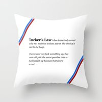 law Throw Pillows featuring Tucker's Law by brilliantbutton