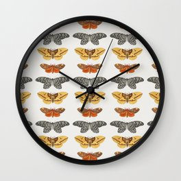 Moth Collage I Wall Clock