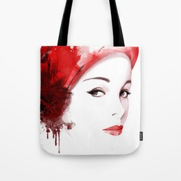 Beauty in red hat, Fashion Beauty, Fashion Painting, Fashion IIlustration, Vogue Portrait, #18 Tote Bag