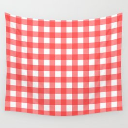Plaid (Red & White Pattern) Wall Tapestry