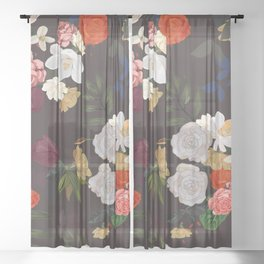 Orange Roses, Tulip and Mix Flowers Vintage Pattern Sheer Curtain