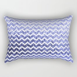 Glitter Sparkly Bling Chevron Pattern (blue) Rectangular Pillow