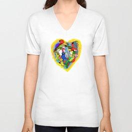 I heart parrots cute cartoon Unisex V-Neck