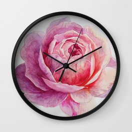 Tea Rose on White Background Wall Clock
