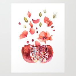 My heart is full of flowers / pomegranate and poppies Art Print