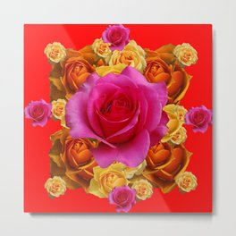 GOLD-YELLOW & PINK ROSES ON RED Metal Print