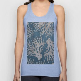 Coral teal - scratched leather Unisex Tank Top