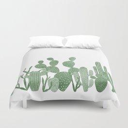 Green cactus garden on white Duvet Cover
