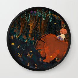 pumpkin boy and his werbear Wall Clock