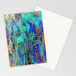 Neon Blue Houses Stationery Cards