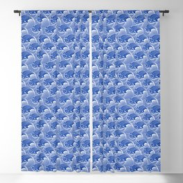 Vintage Japanese Waves, Cobalt Blue and White Blackout Curtain