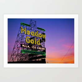 Tulsa Meadow Gold Neon - Route 66 Photo Art Art Print