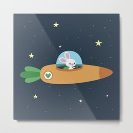 Space bunny and its carrot rocket Metal Print