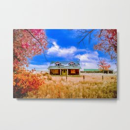 Country Farm In Autumn, Wyoming Metal Print