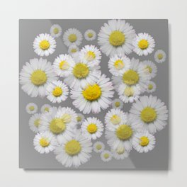 GREY GARDEN OF SHASTA DAISY FLOWERS ART Metal Print
