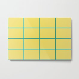 Blue-Green Yellow Sponge Paint Thin Check Pattern 2021 Color of the Year AI Aqua 098-59-30 Metal Print