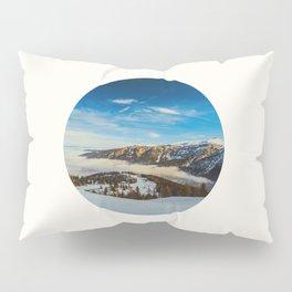 Mid Century Modern Round Circle Photo Rolling Snow Hills Distant Mountains Pillow Sham