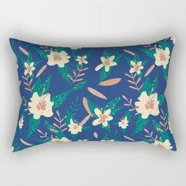 Navy Garden of Flowers Rectangular Pillow