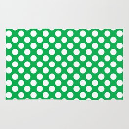 White Polka Dots with Green Background Rug