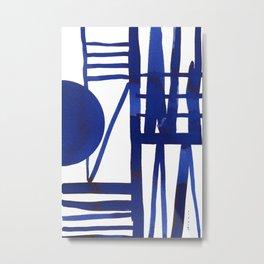 Blue grid -abstract minimalist ink painting Metal Print