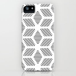 Geometric Line Lines Diamond Shape Tribal Ethnic Pattern Simple Simplistic Minimal Black and White iPhone Case