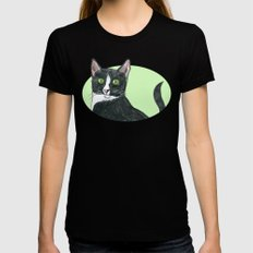 Black and White Cat  LARGE Black Womens Fitted Tee