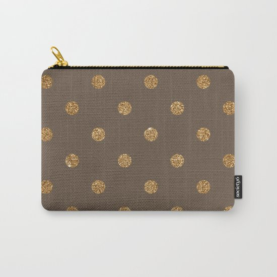 Brown Gold Glitter Dots Carry-All Pouch