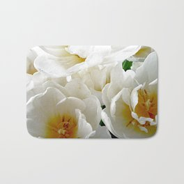 White tulips with afterglow centers Bath Mat