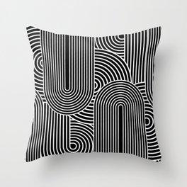 Bizarro Shape Study Pop-Art Print: Black Throw Pillow