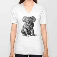 koala V-neck T-shirts featuring Koala by BIOWORKZ